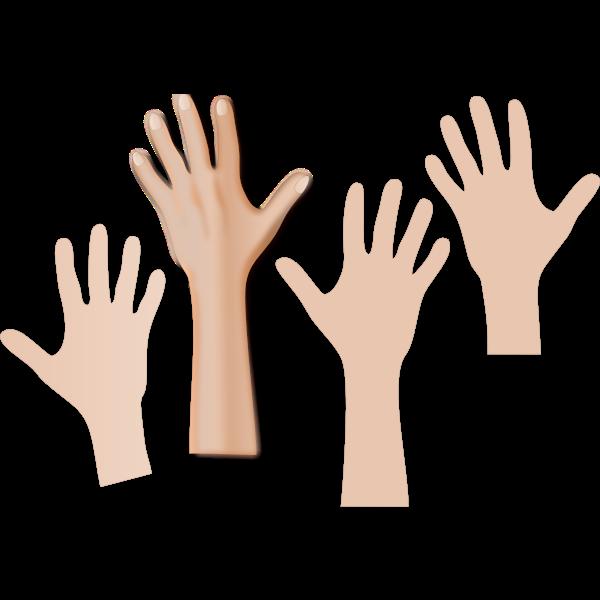 Four hands reaching upwards
