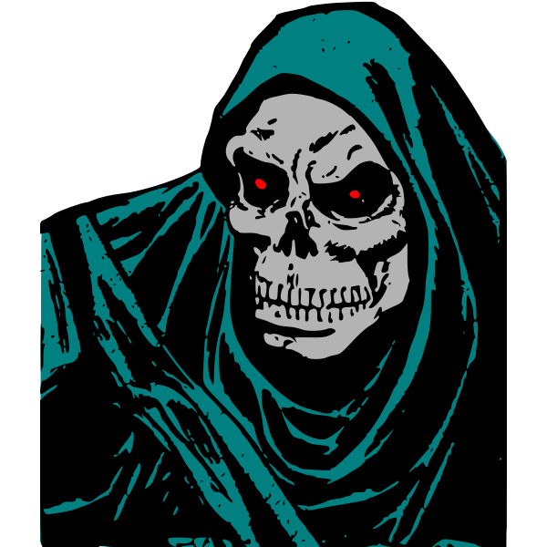 Vector clip art of skeleton death with green head cover