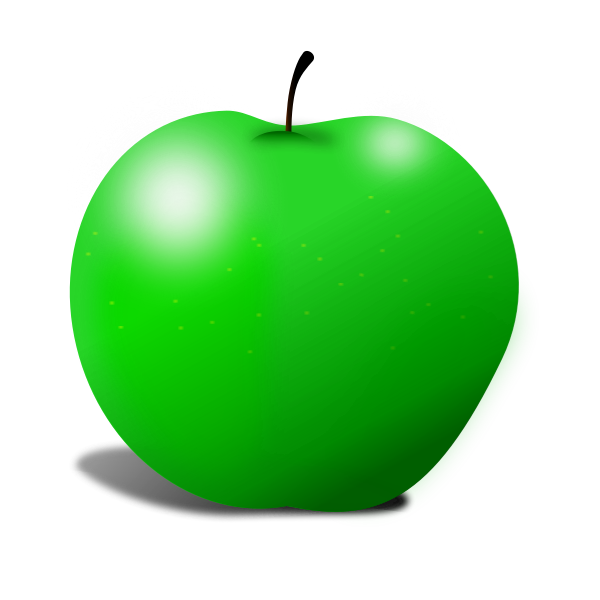 Vector graphics of green apple with two spotlights