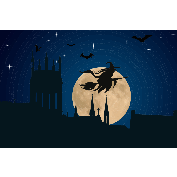 Halloween witch flying at moonlight vector drawing