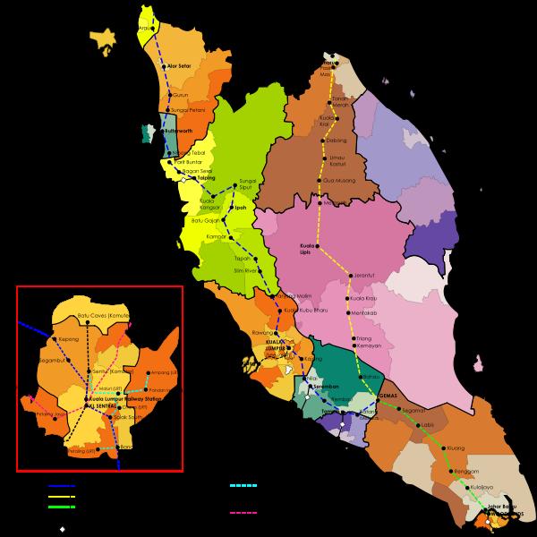 Malaysia railway map