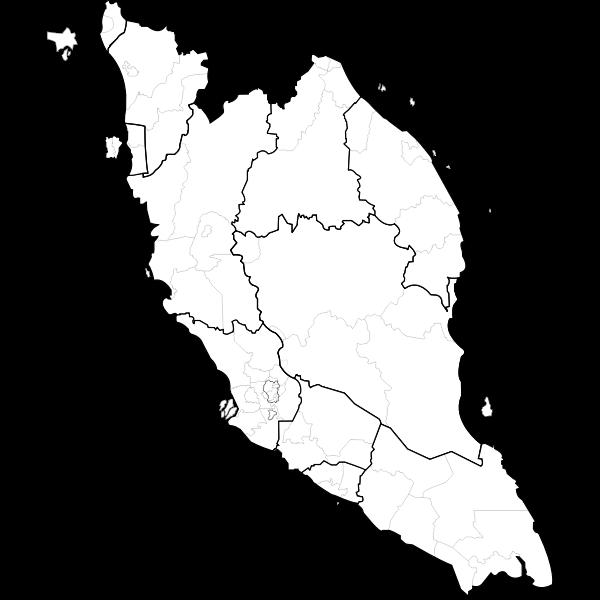 Blank map of peninsular Malaysia