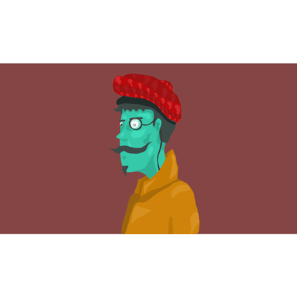 Drawing of old man with green face
