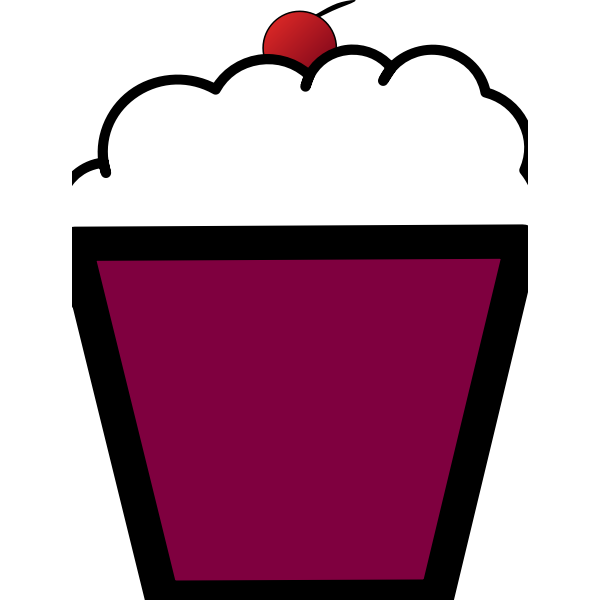 Clip art of purple cupcake with a cherry