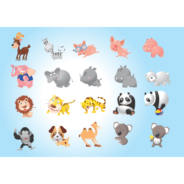 Vector pack with different animals