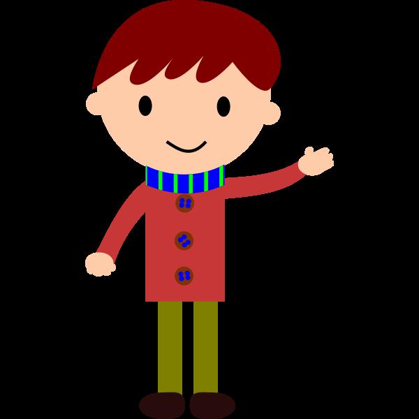 Boy waving hand