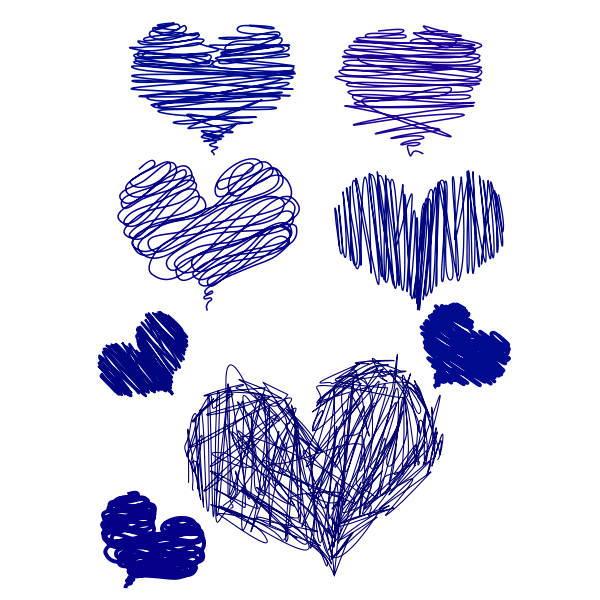 Pen drawn hearts