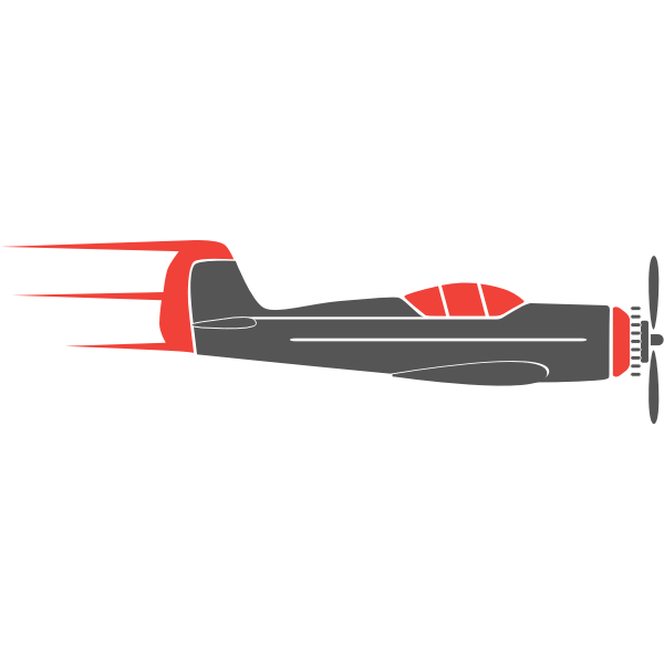 Graphics of propeller airplane in grey and red