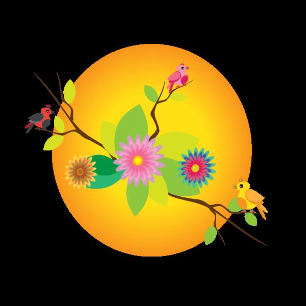 Birds and flowers under sun illustration