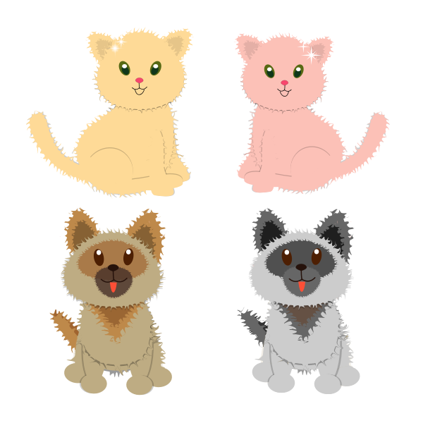Vector image of puppies and kitties