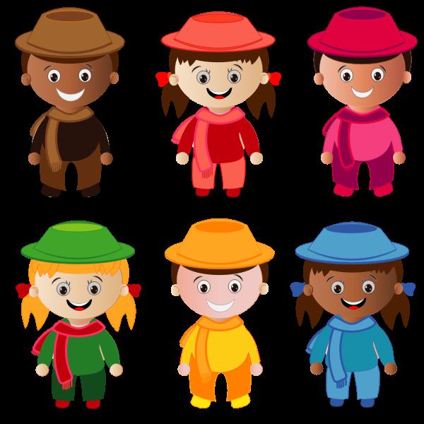 Cartoon smiling kids