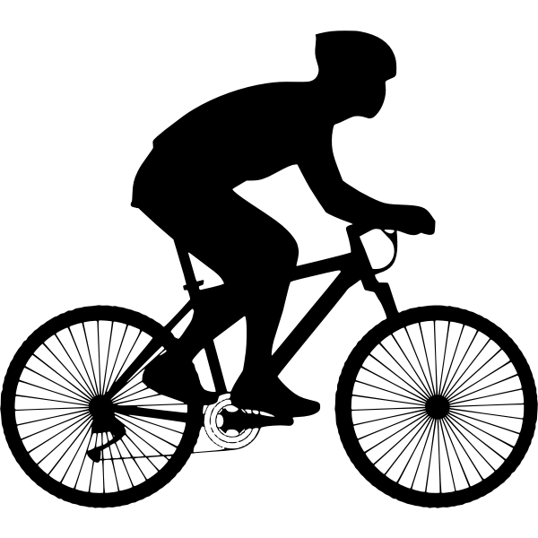 black silhouette of a cyclist
