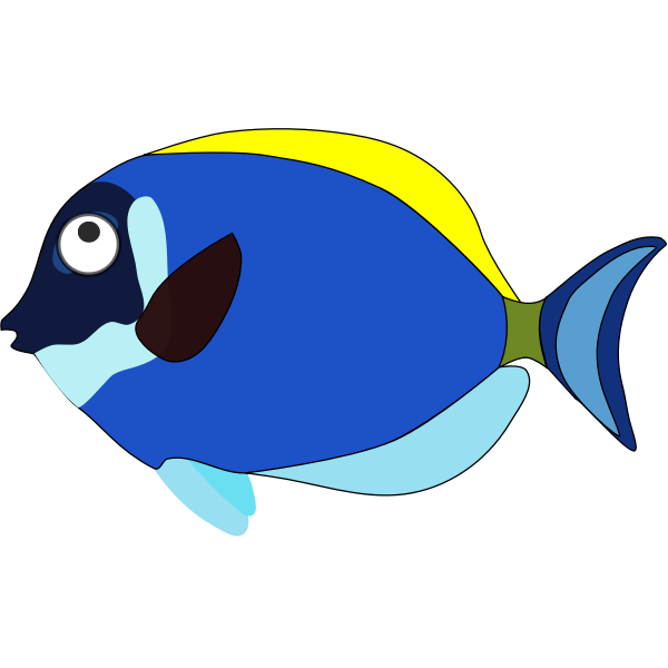 Blue cartoon fish