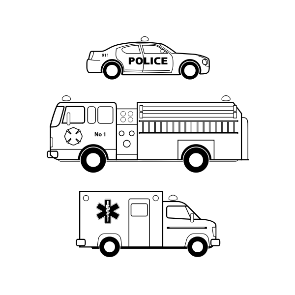 Emergency vehicles in black and white