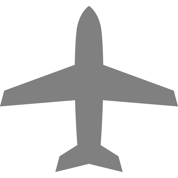 Airplane silhouette in grey color