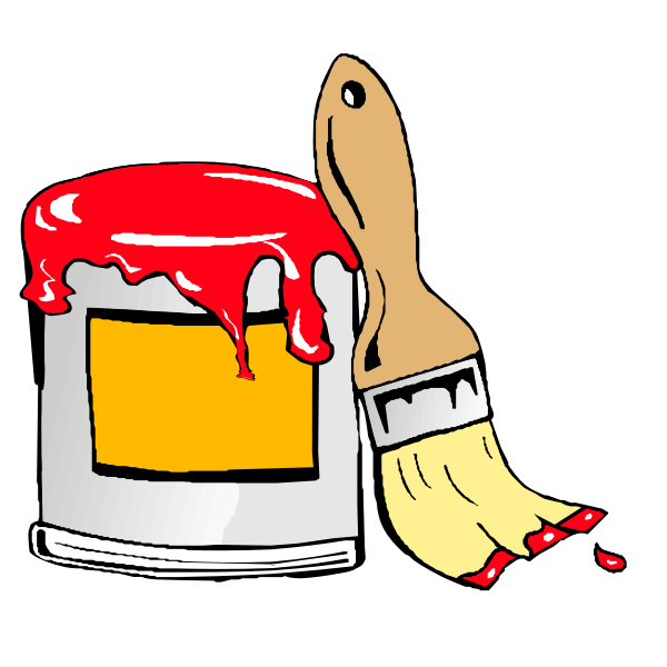 Paint can with brush Animation