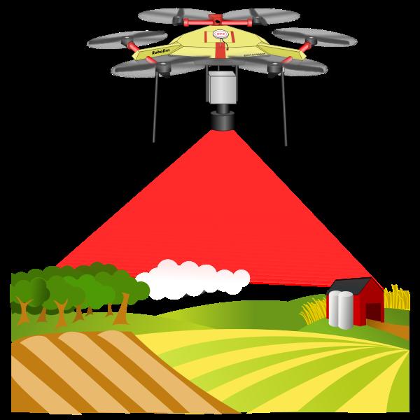 Drone above farm