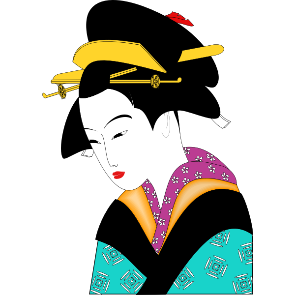 Sad geisha with red lipstick