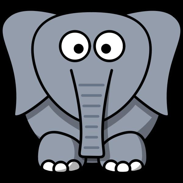 Vector drawing of funny kid cartoon elephant