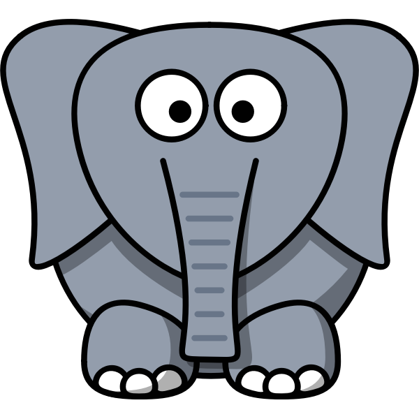Vector drawing of funny kid cartoon elephant