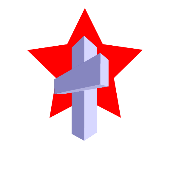 A cross and red star