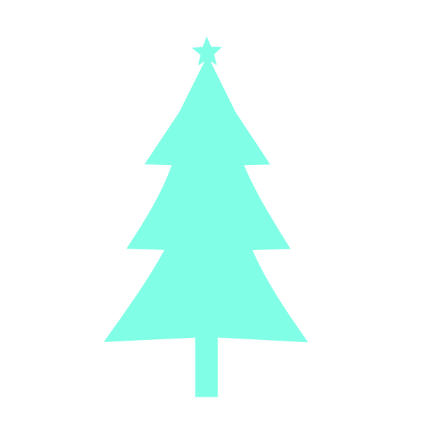 Christmas tree silhouette turqouise color