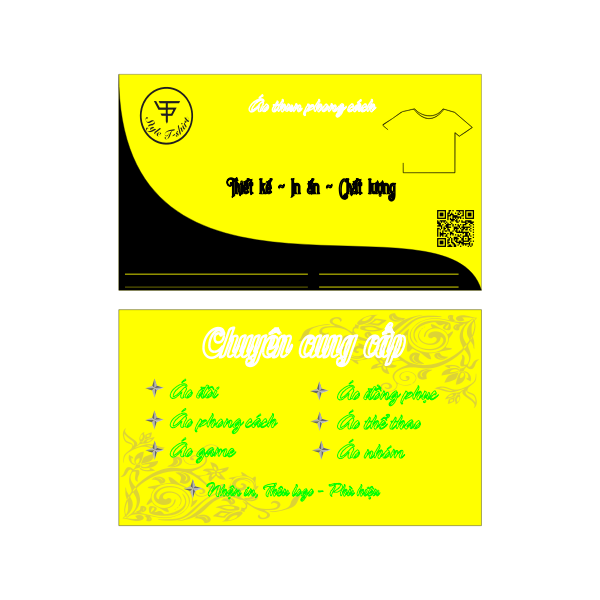 Business card yellow color
