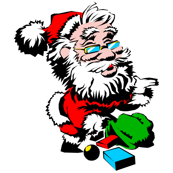 Cool Santa with presents