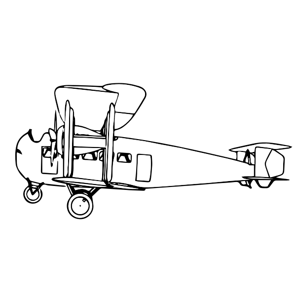 Biplane Outline Side View Free Svg