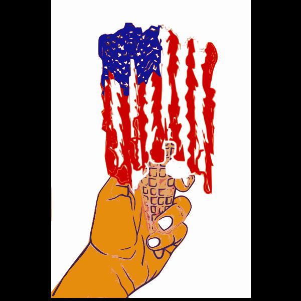 Hand and US flag