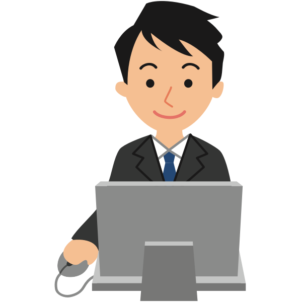 Male computer user vector drawing