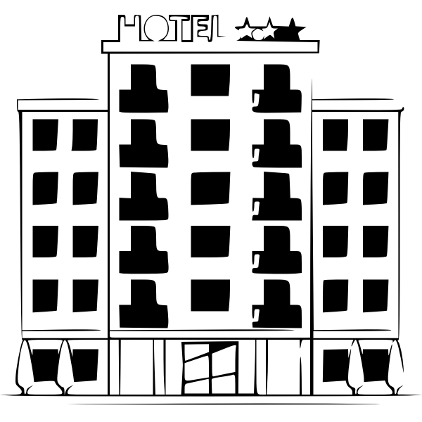 Hotel building monochrome silhouette