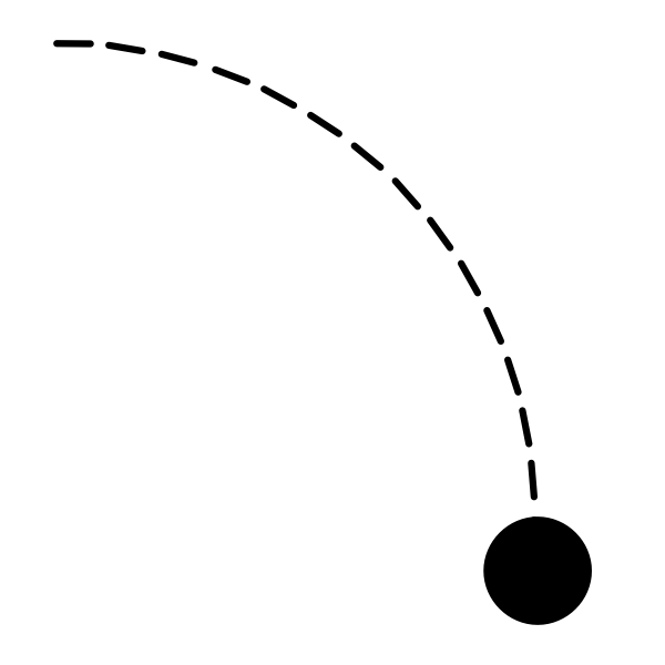 Curved dashed line with black dot