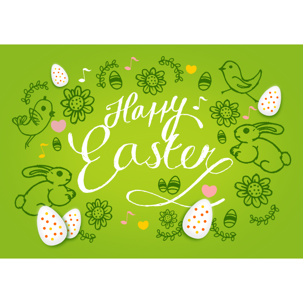 Happy Easter Postcard Template