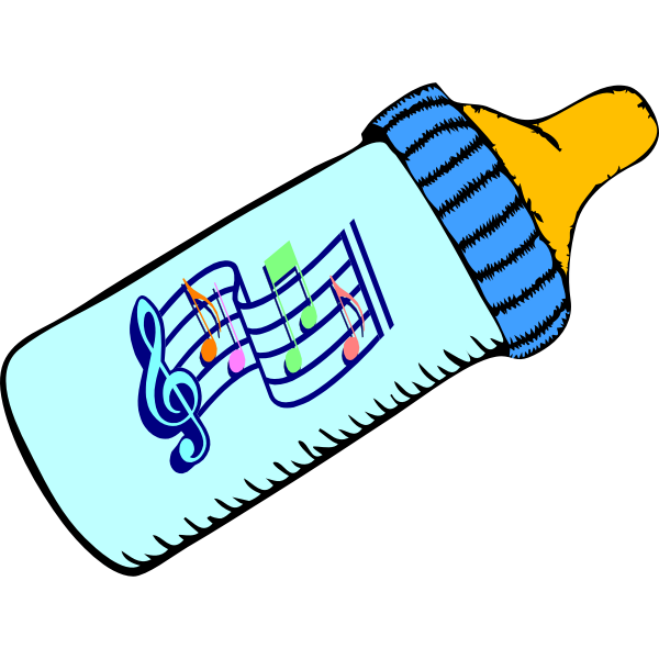 Baby bottle and music
