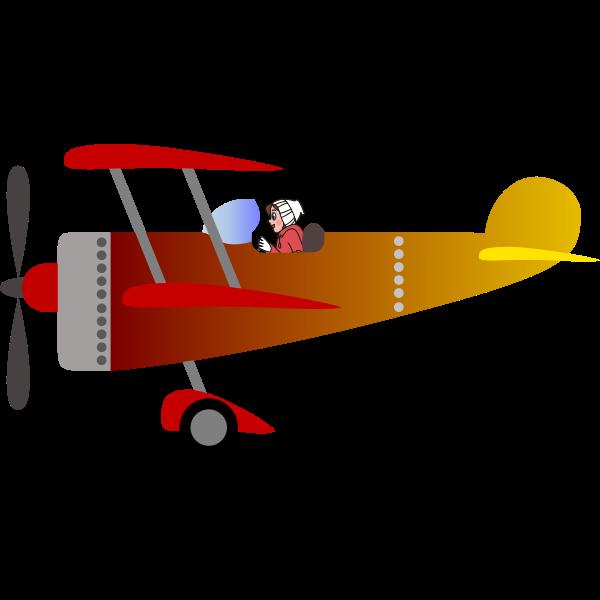 Biplane 2 with a pilot [woman]