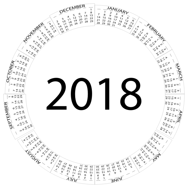 2018 Calendar Circular