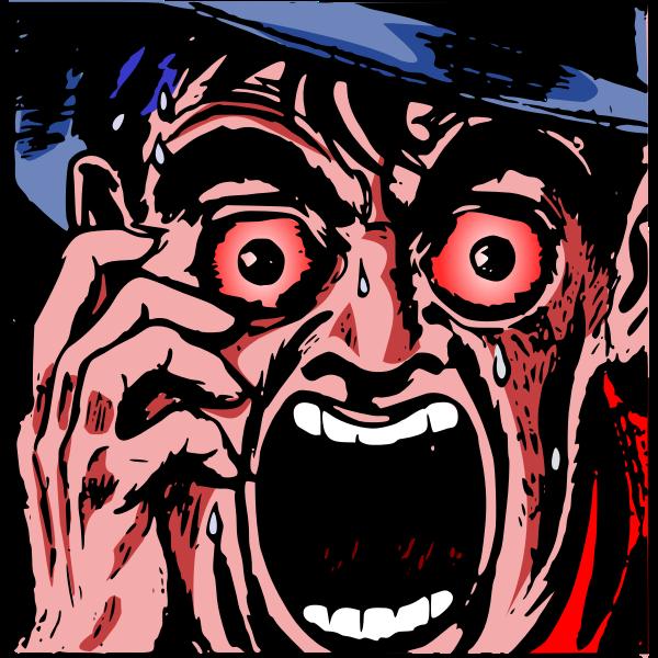 Man screaming in horror