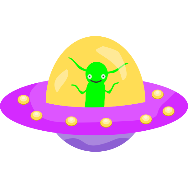 Flying saucer with an alien inside