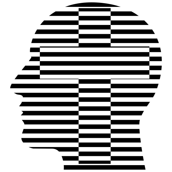 Man Head Striped Cross
