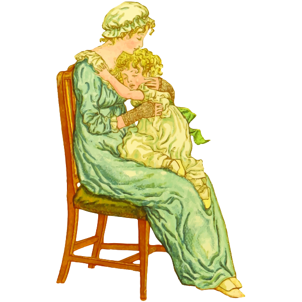 Mother and child in vintage style