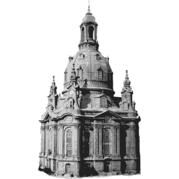 Dresden church in black and white
