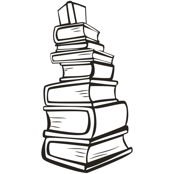 Stack of books in black and white