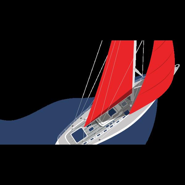 Barca rosso blu