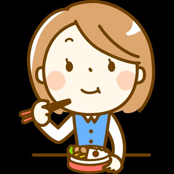 Woman eating bento