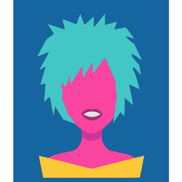 Lady with blue hair