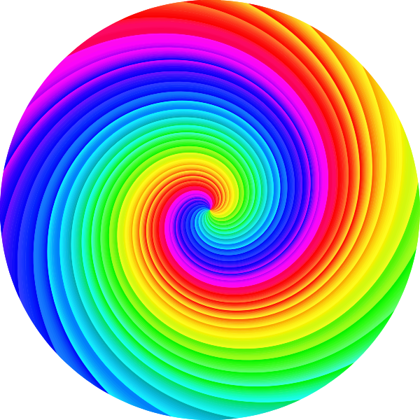 Spiral rainbow ornament