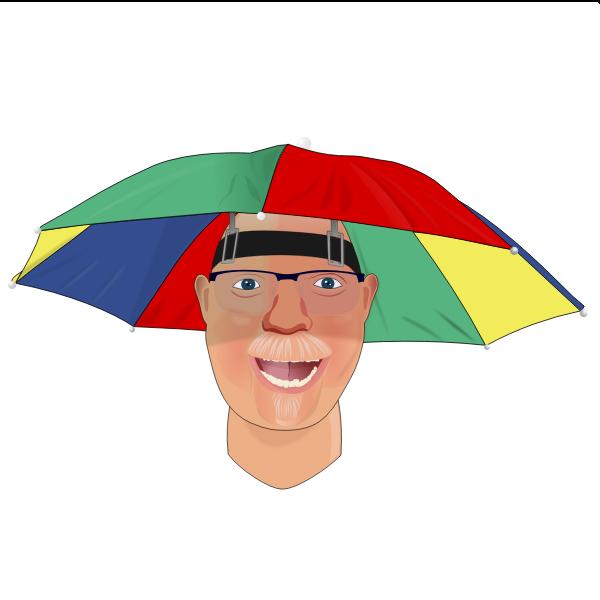 Man with umbrella hat