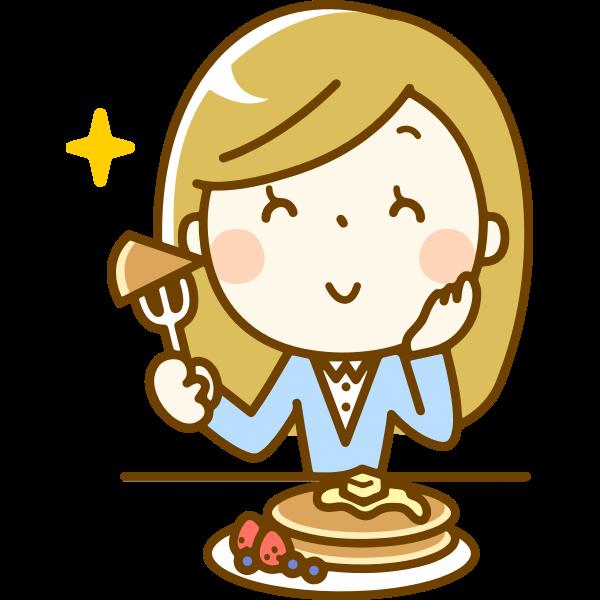 Woman Eating Pancakes