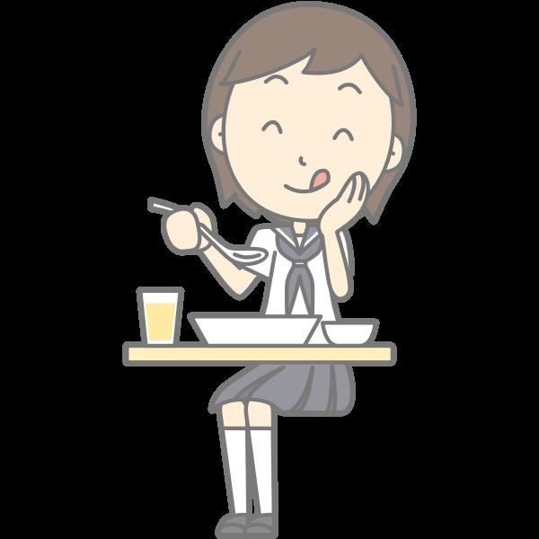 Schoolgirl enjoying lunch